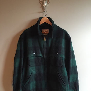 Vintage 60s Woolrich Lumberjack Coat Jacket Blue Green Partially Lined Size XL xXL Wool Rugged Field Coat Plaid ZipperHipster