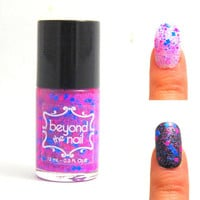 Totally Tubular - Neon Pink and Blue Glitter Nail Polish