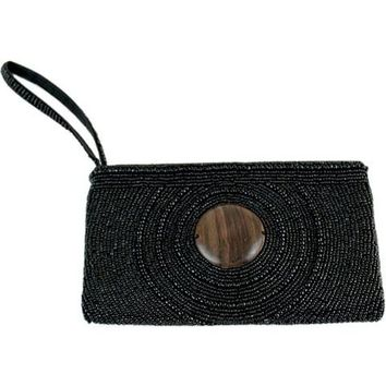 Circle Drew Wood Wristlet Clutch ~ Black