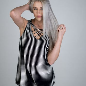 Black and White Striped Strappy Tank Top