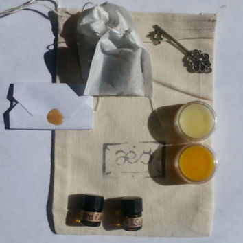 November Sample Bag! Drawstring bag of solid and regular perfume, loose tea and paper incense samples