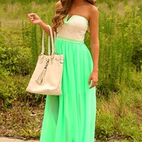 Not Enough Time Maxi Dress: Seafoam/Ivory