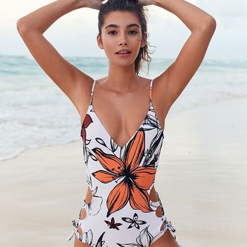 Out From Under Jules Printed Split Side Lace-Up One-Piece Swimsuit | Urban Outfitters