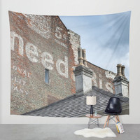 NEED - Modern Wall Tapestry, City Tapestry, Street Art, Graffiti Decor, Savannah Georgia, Brick Building, Loft Decor, Industrial Tapestry