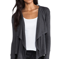 dolan Drape Front Cardigan in Charcoal