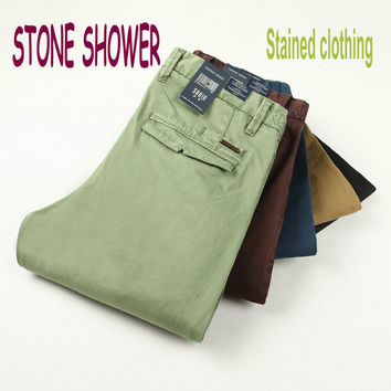 STONE SHOWER Brand Male 100% Cotton High Quality Casual Straight Men Trousers Formal Slim Fit Men Pants Stained Clothing