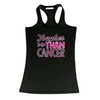"Women's ""Tougher than Cancer"" Breast Cancer Awareness Racerback TANK  BLACK"