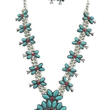 ICON Southwestern Navajo Faux Turquoise Squash Blossom Statment Necklace & Earrings Set
