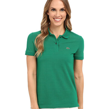 Lacoste Women's Green Color Short Sleeve Pique Original Fit Polo Shirt