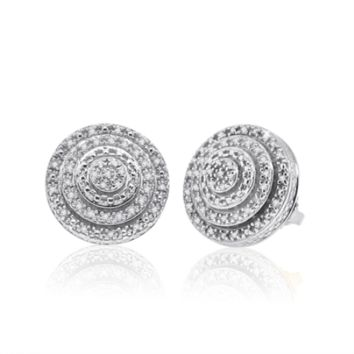 Diamond Micropave Earrings in Sterling Silver 0.15 Cttw