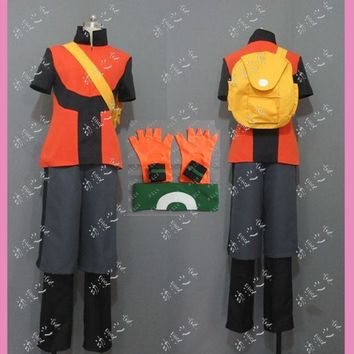 Pocket Monsters Brendan Ruby Cosplay Costume with bag and hatKawaii Pokemon go  AT_89_9