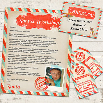 Letter from Santa Claus with Gift Tags and Thank You Card - Naughty or Nice - Vintage, Rustic Designs - Santa's Workshop - Fully Customized