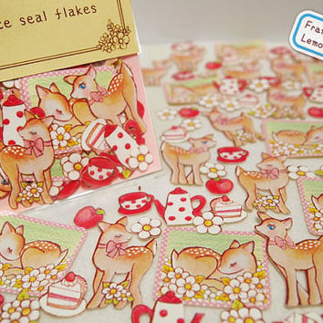 deer sticker little deer cake party flake sticker teaport Flower sliced cake lovely animal decor label cute farm animal sticker set gift