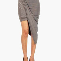 High-Waisted Drape Asymmetrical Skirt