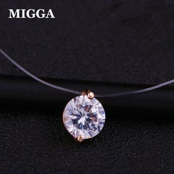 MIGGA Shining CZ Stone Crystal Zircon Necklace Invisible Transparent Fishing Line Chain Necklace for Women