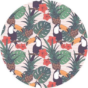 Toucans and Pineapples Circle Wall Decal