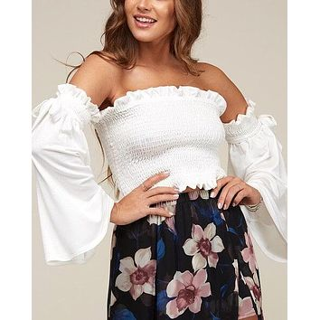 solid knit off the shoulder smocked top - ivory