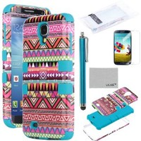 Galaxy S4 Case, S4 Case - ULAK 3in1 Hybrid Samsung Galaxy S4 Case with Aztec Tribal Pattern + Screen Protector + Stylus (Pink + Blue)