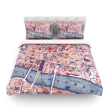 """Alison Coxon """"City Of London"""" Map Featherweight Duvet Cover"""