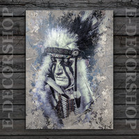 Art Print Canvas - American Indian Canvas ART Print | Native American Chief Canvas Painting