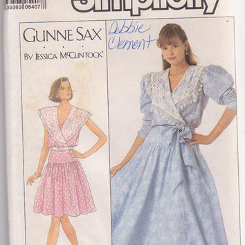 Vintage 1980s pattern Gunne Sax by Jessica McClintock party dress dropped gathered waist + wide collar misses size 14 Simplicity 8611 UNCUT