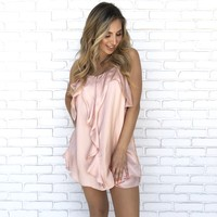 Precious Satin Ruffle Shift Dress in Pink