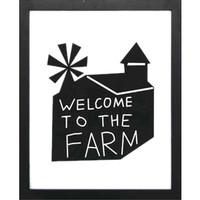 "Sayings MDF Framed ""Welcome To The Farm"" Wall Decor Sign"
