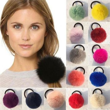 PEAP78W 8 cm Rabbit Fur Ball Headband Girls Ponytail Holder Elastic Rubber Ribbon Hair Band Headwear Pompoms Wrap Hairband Accessories