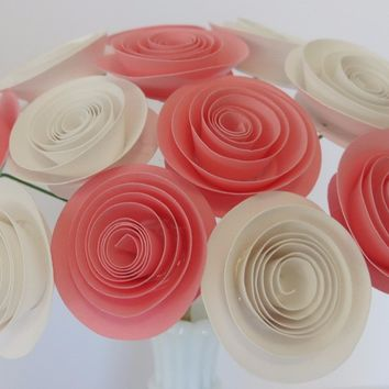 "pink & white Paper flowers small 1.5"" roses with stem 12 Spiral Paper flowers table Centerpiece Rolled paper roses one dozen Cardstock flowers"