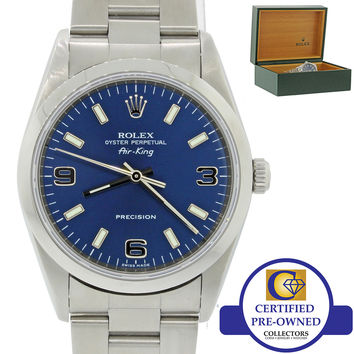2005 Rolex Oyster Perpetual Air-King Blue 14000M 34mm Precision Watch 14000 wBox