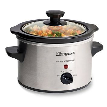 Elite Gourmet MST-250XS Maxi-Matic 1.5 Quart Slow Cooker, Silver (Stainless Steel Finish)
