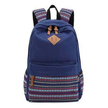 Navy Blue Canvas Ethnic Style Large Backpack Travel Fashion Bag Daypack