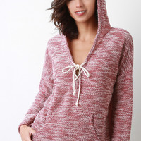 Marled Knit V-Neck Drawstring Hoodie Sweater