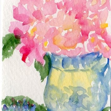 ACEO Pink Hydrangeas Still life Original by SharonFosterArt