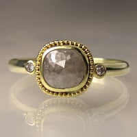 18k Gold Granulated Rose Cut Diamond Ring, Engagement Ring