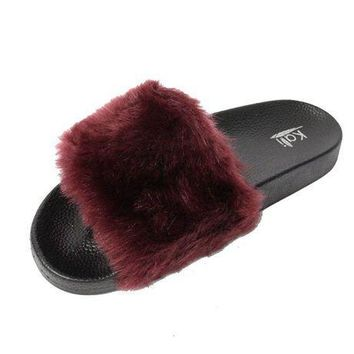 CREYON3F Kali Footwear Women's Flip Flop Faux Fur Soft Slide Flat Slipper Limit