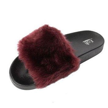 CREYON8C Kali Footwear Women's Flip Flop Faux Fur Soft Slide Flat Slipper Limit