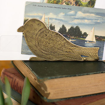 Bird Napkin Holder with Antique Brass Finish
