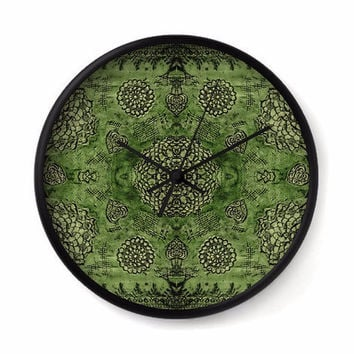 Bohemian Wall Clock with emerald green floral lace pattern