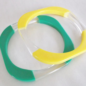 Vintage Retro Green Yellow Clear Lucite Square Stacker Bangle Bracelet Duo Pair Jewelry Gift