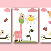 "Art for Children , Kids Wall Art, Baby Room Decor,Nursery print,set of 3 8"" x 10"" Print,owls,turtle,decoration,tree,birds,rose,giraffe"