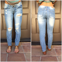 Charles Distressed Cut Off Capri Denim Pants