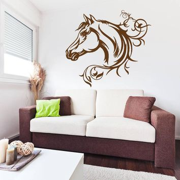 ik697 Wall Decal Sticker head horse nag pet stallion thoroughbred horse bedroom
