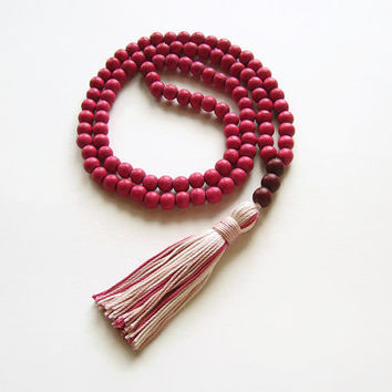 Raspberry pink tassel necklace jewelry, Long pink necklace, Long beaded necklace summer jewelry, Bright colorful necklace pink jewelry