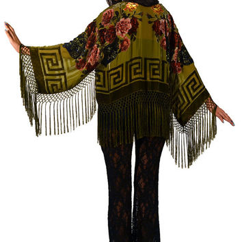 Olive Green Floral Velvet Burnout Gypsy Fringe Beaded Cropped Kimono Jacket
