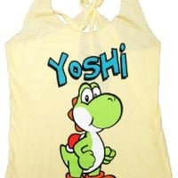 Nintendo Yoshi Yellow Thin-Cut Tank Top With Open Braided Racerback Back - Nintendo - | TV Store Online