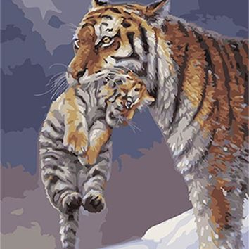 PAINTBOY Tigers Framed DIY Painting By Numbers Painting&Calligraphy Acrylic Painting Wall Art  Home Decor For Living Room