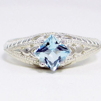 Aquamarine Princess Ring, 925 Sterling Silver, March Birthstone Ring, Sterling Silver Filigree Ring, Princess Cut Square Aquamarine Ring