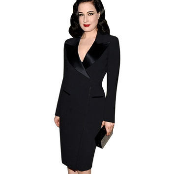 New Autumn Womens Elegant Lapel Satin V Neck Patchwork Adjustable Zipper Wear to Work Office Business Sheath Pencil Dress 102
