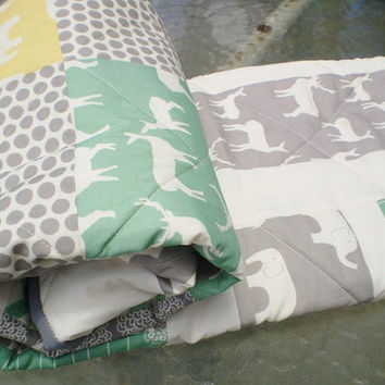 Modern baby quilt,organic bedding,Birch fabric,chevron,grey,green,woodland animal,elk,elephant,deer,baby blanket,yellow,boy or girl quilt